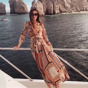 Zara Printed Swiss Dot maxi dress with belt